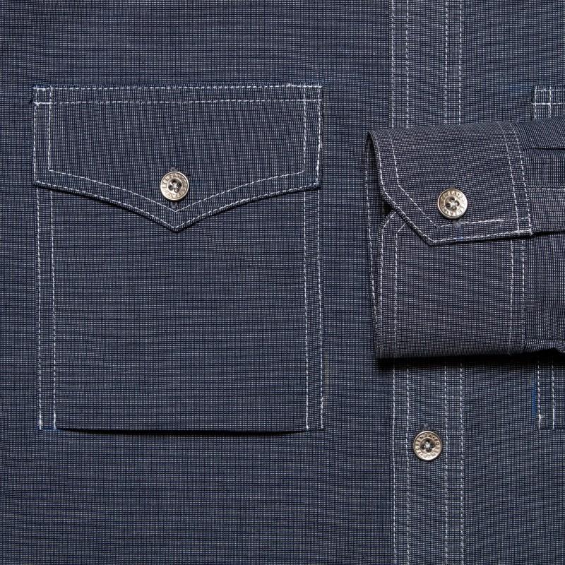 Chambray Denim Shirt With Flap Pockets Efaisto