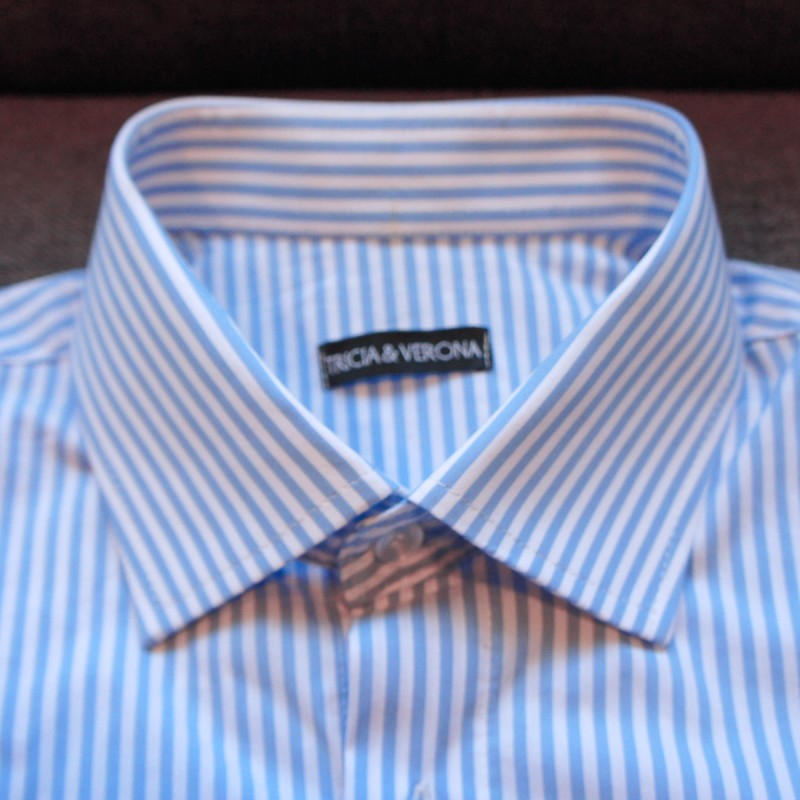 410c50403e3c76 White And Blue Bengal Striped Dress Shirt - Efaisto